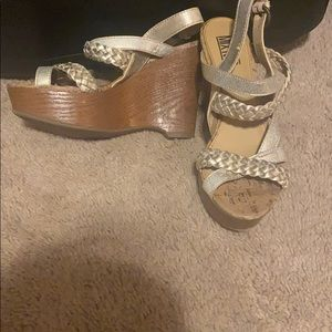 Gold and brown wedges size 61/2